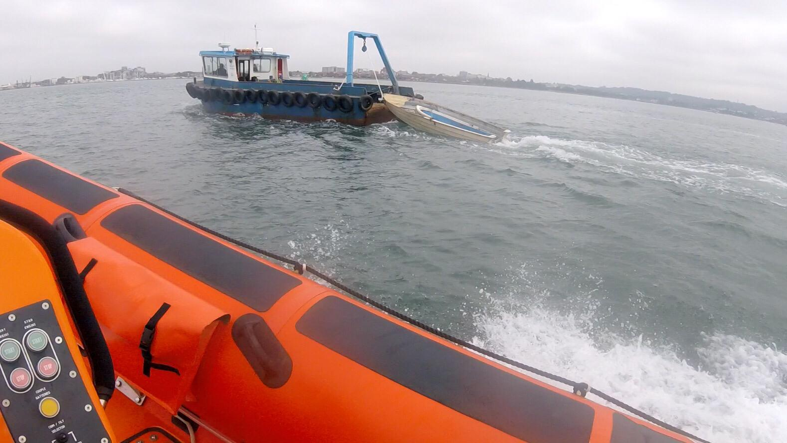 Lifeboat crew launch after upturned boat spotted near chain ferry
