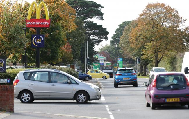 Somerford Road in Christchurch is closed following a crash. Stock Photo