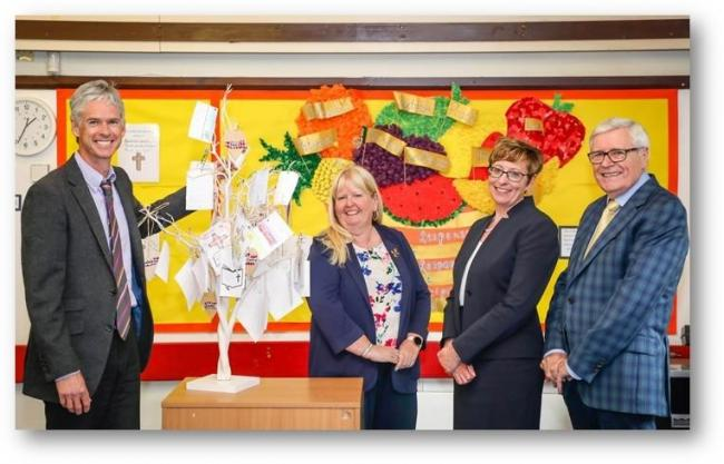Senior leaders celebrate Verwood CE First School's successful SIAMS inspection. Pictured in front of the school's prayer tree are: headteacher Adam Parsons, School Academy Committee Chair Jane Mearns , Wimborne Academy Trust CEO Liz West and Chair