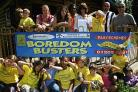 DISAPPOINTED: Children who have been attending the Boredom Busters holiday playscheme and some of their parents