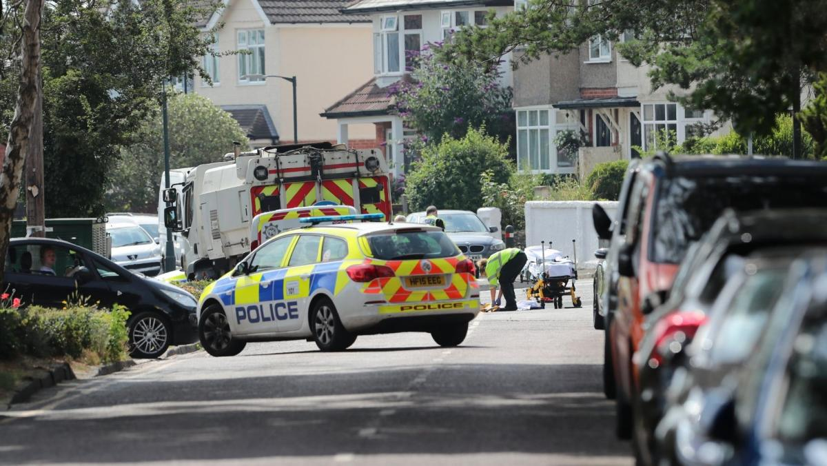 Emergency services in Harewood Avenue after crash