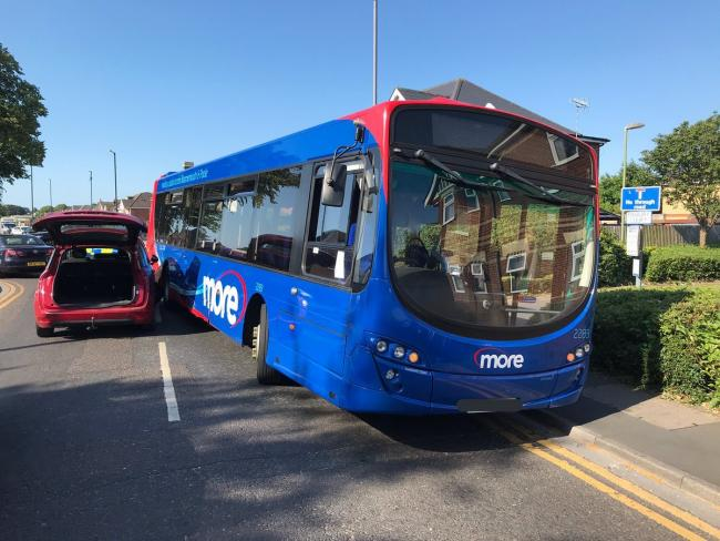 A Morebus and car involved in a crash in Redhill Drive on July 11, 2019. Picture by Dorset Traffic Police.