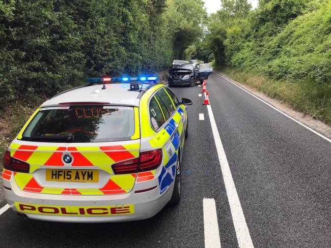 Police at the scene of a four-vehicle crash on the A354 at Thornicombe on July 11, 2019. Picture: Dorset Traffic Police.