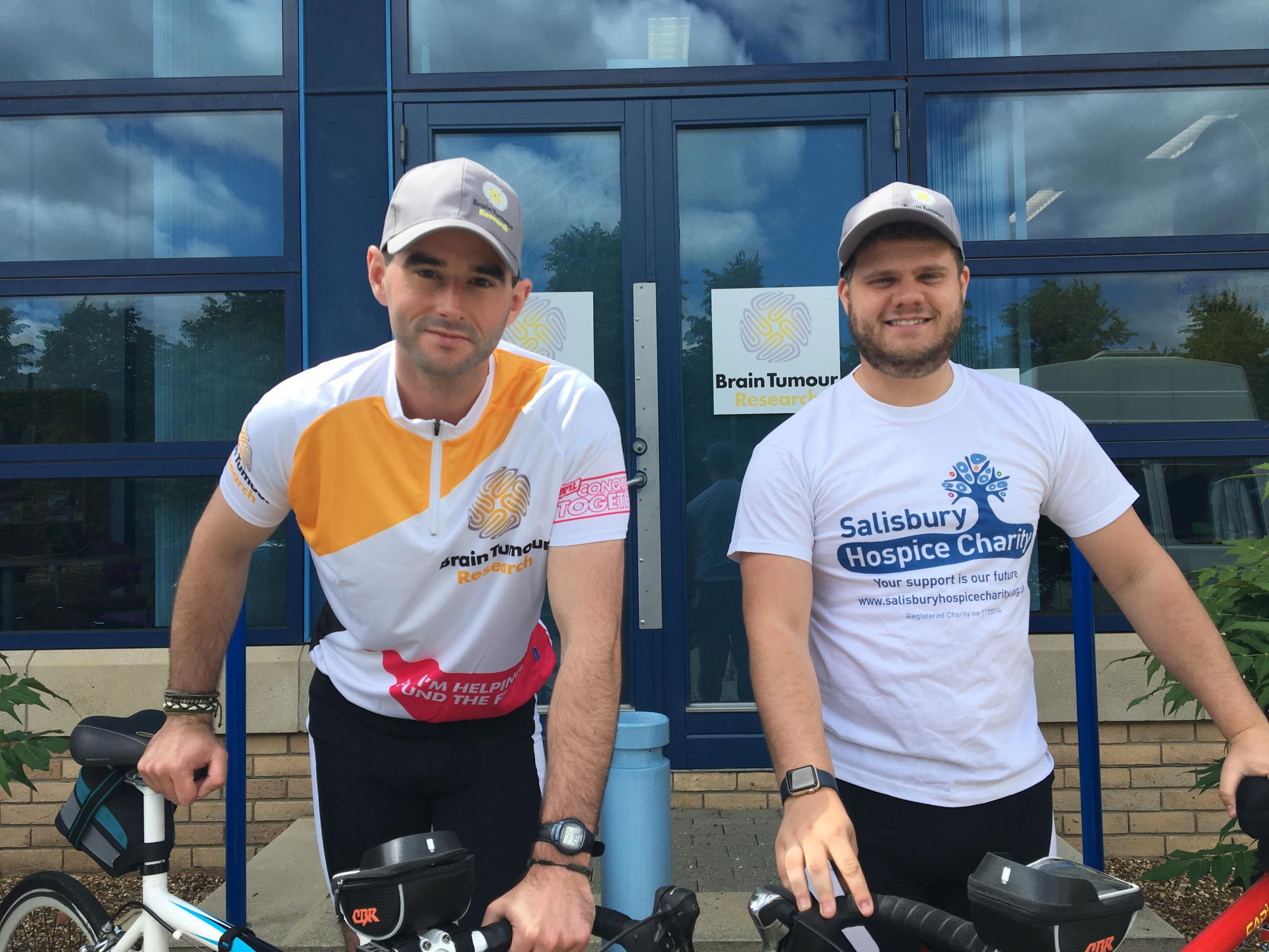 Friends cycle 400 miles to raise funds after losing family members to brain tumours