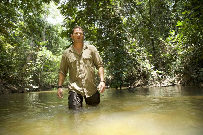 Steve clearing a path on the journey up the Marang River. Picture: PA Photo/ ©UKTV/True to Nature Ltd.