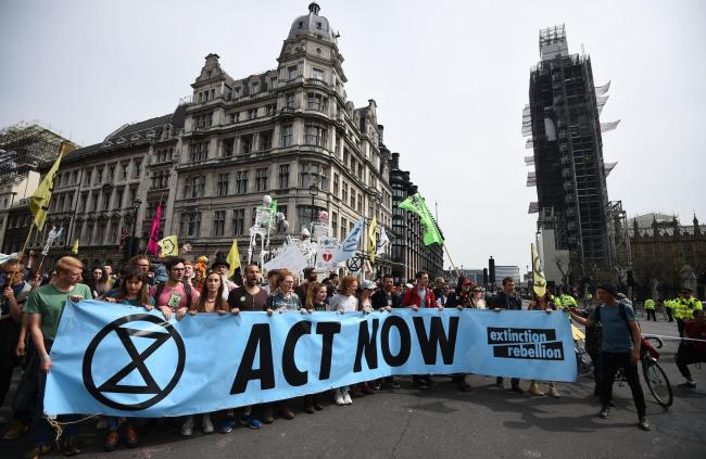 Extinction Rebellion protesters making their point in London