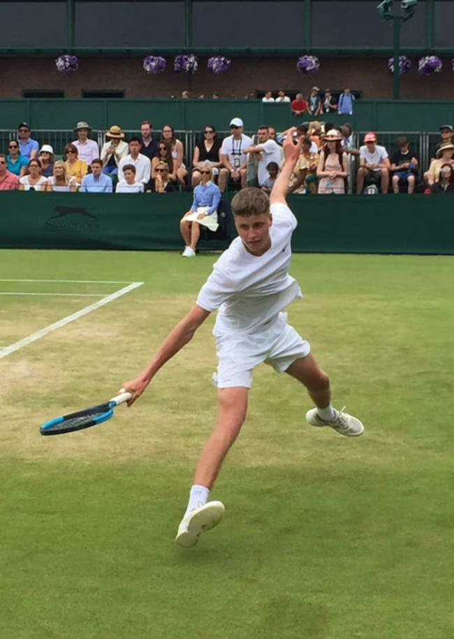 Toby Samuel in action at Wimbledon