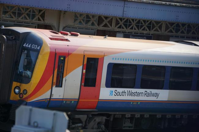 South Western Railway train at Bournemouth railway station. Stock Photo