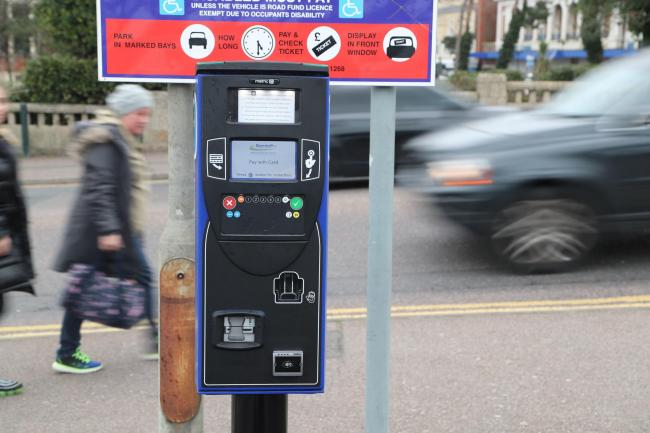 The new cashless parking machines in the Bath Road car park in Bournemouth.