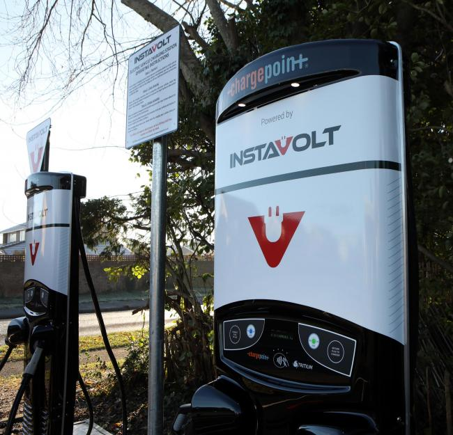 Some of InstaVolt's rapid electric car chargers.