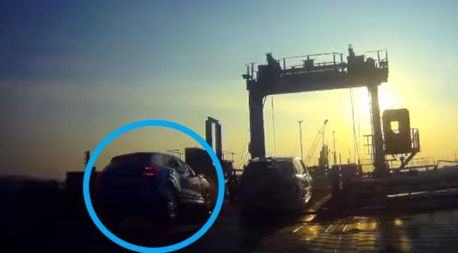 The moment a car crashed into the barrier while leaving the Barfleur Ferry at Poole. Footage by Mark Troy