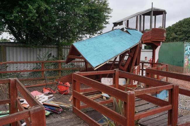 The ship-themed play structure that was vandalised by the group of youths