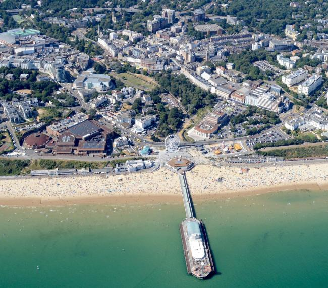 Bournemouth Pier, seafront and the Bournemouth town centre. Picture by Stephen Bath