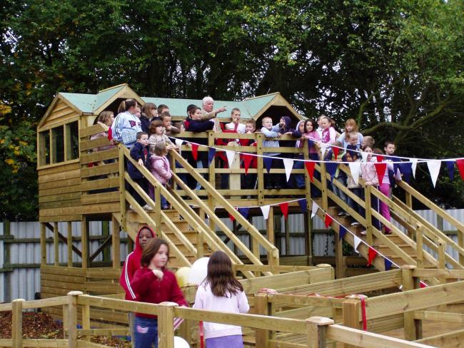 A climbing structure at Fernheath Play being opened in 2015