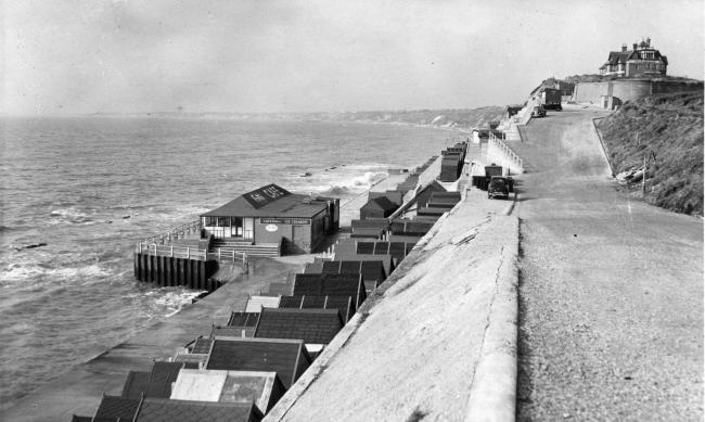 Southbourne  beach cafe and beach huts pictured here on 1 March 1956.  Daily echo photo