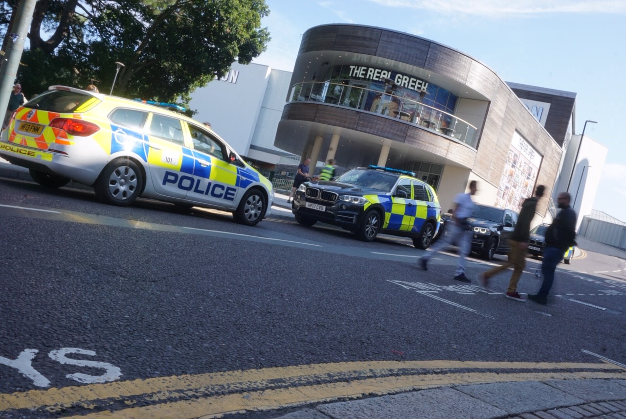 Police and the helicopter searching Bournemouth town centre