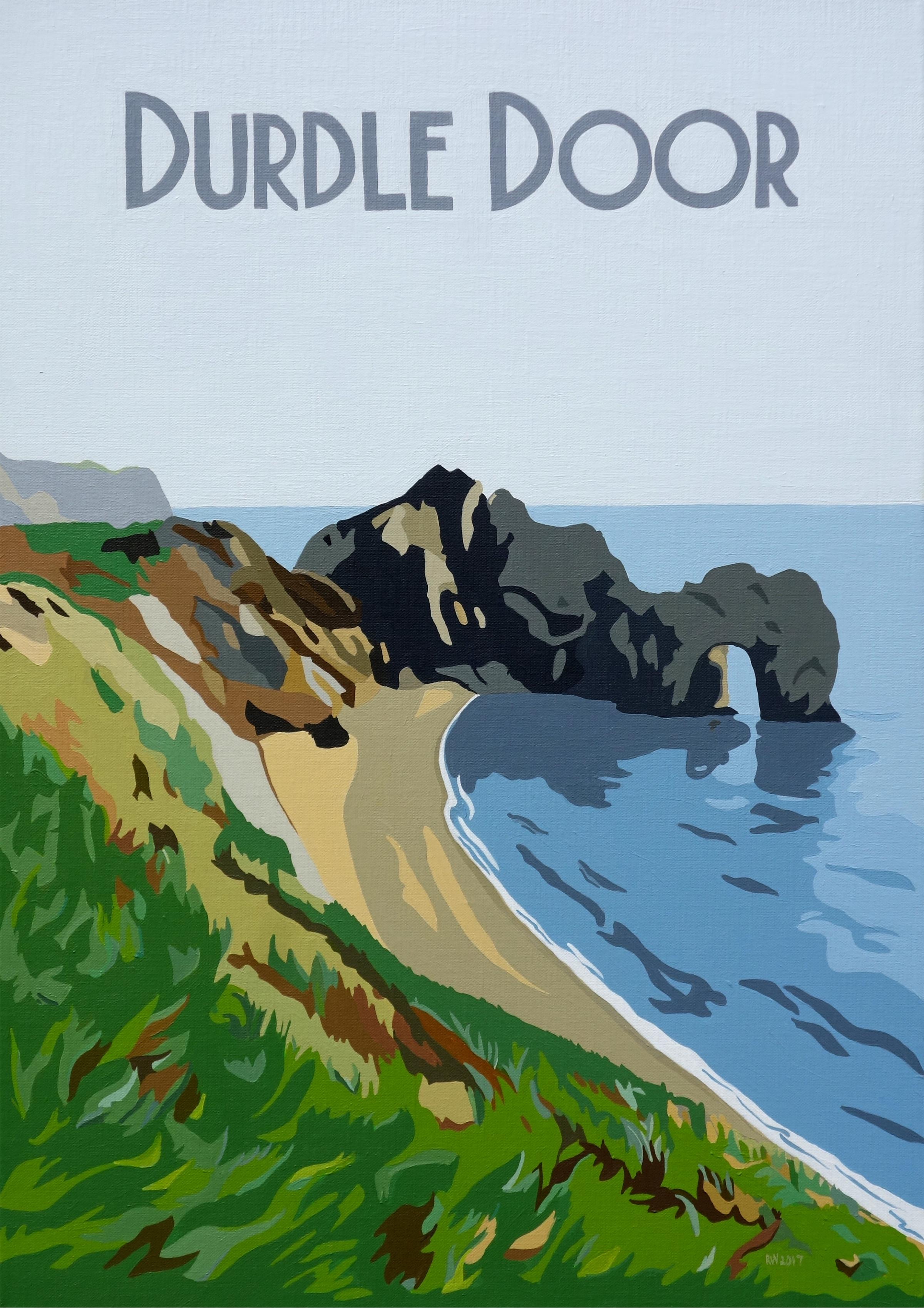 Durdle Door and Sandbanks Ferry turned into retro-style paintings