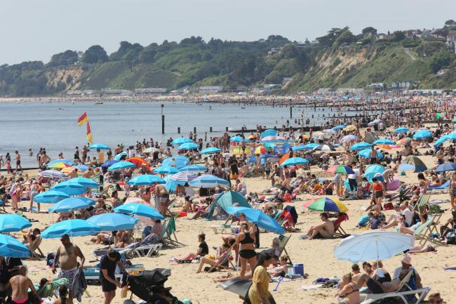 Bournemouth beach during a busy bank holiday