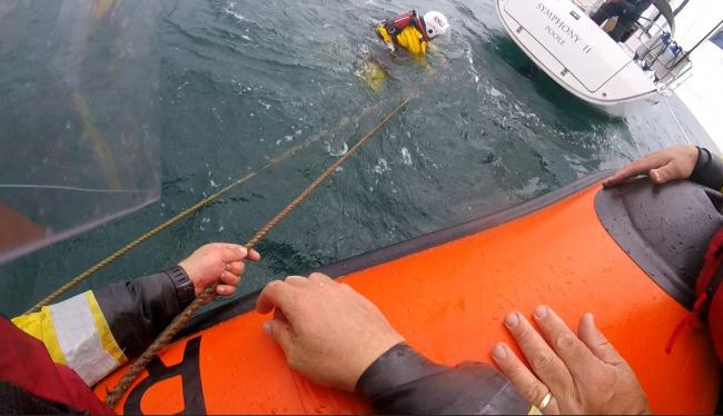 Poole Lifeboat volunteers were called out after a yacht became 'snared' in fishing gear two miles from Poole Harbour. Image: RNLI