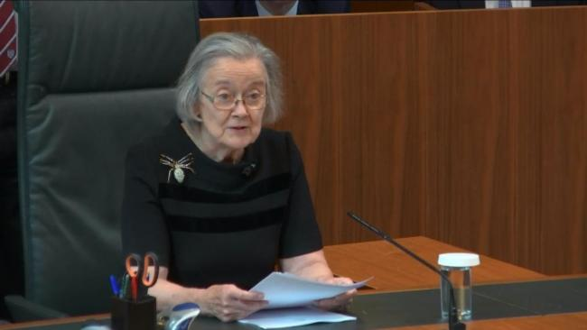 Lady Hale delivering the Supreme Court's judgement