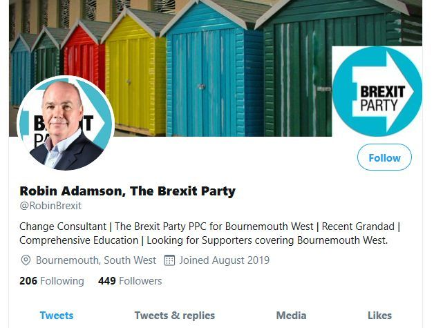 Brexit Party candidate for Bournemouth removes 'collaborators will be purged' tweet
