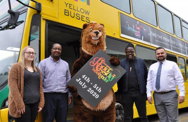 (l-r) Amylee Foot from Yellow Buses, Lionel Yafele from the organisers Afro*disiac Radio, Yellows' Buster Bear, Raymond Nyenje, one of the organisers, and Jay Thornton from Yellow Coaches.