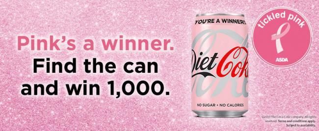 Look out for pink Diet Coke cans hidden in Asda and you could win £1k!