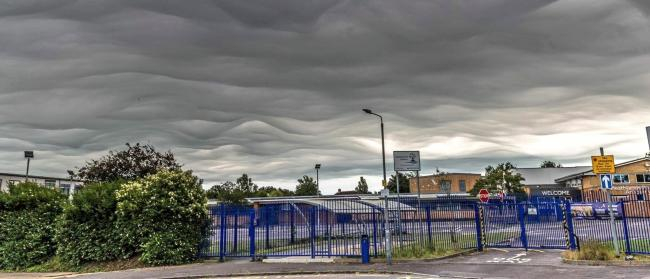 Clouds over Heathlands Primary Academy in West Howe. Picture by @LeighDoreyPhoto.