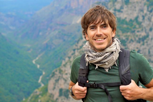 Simon Reeve at the Vikos Gorge, the deepest gorge in the world.