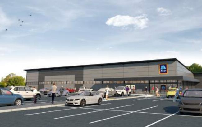 Visualisation of the proposed Aldi store scheme on land off Caird Avenue in New Milton