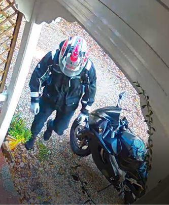 Police are searching for information about a motorcyclist after a home in Woodlands was burgled