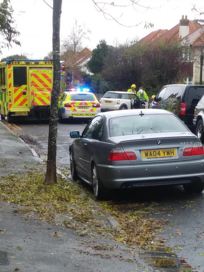 The scene of a crash in Hambledon Road, near Swanmore Road, Bournemouth