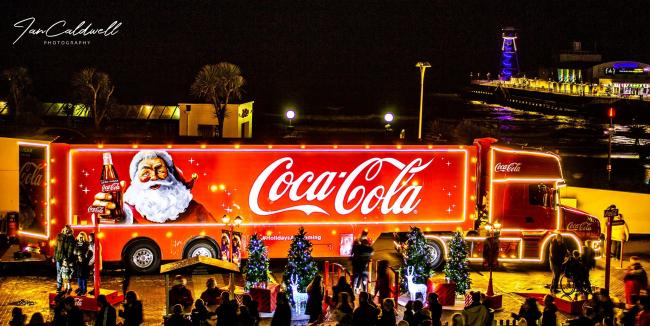 The Coca-Cola truck visits Bournemouth Pier on December 1, 2018. Picture by Ian Caldwell