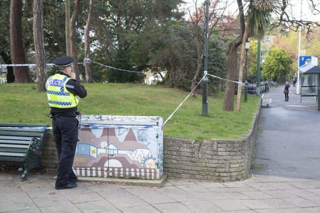 A police cordon in Bournemouth Lower Gardens next to Gervis Place in the town centre..