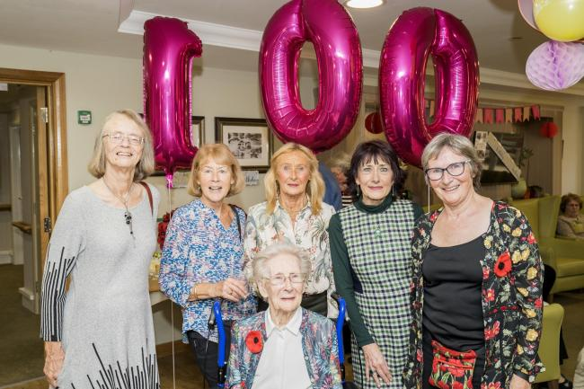 Ferndown Manor resident Isabel Milbourne celebrates her 100th birthday with family and friends