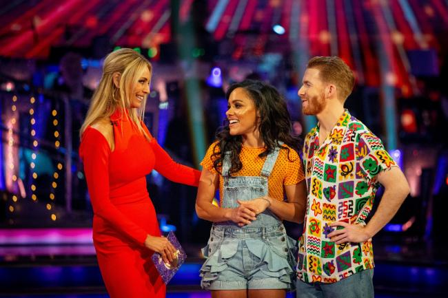 Tess Daly with Alex Scott and Neil Jones