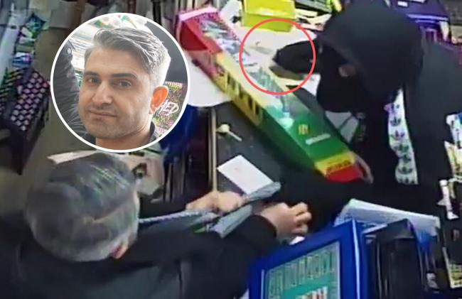 Ozcan Yildirim, inset, took on a knife-welding robber who attempt to steal money from Wallisdown News