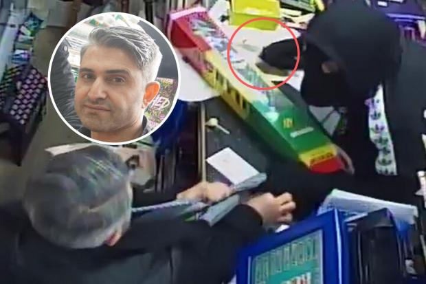 Ozcan Yildirim, inset, took on a knife-weilding robber who attempt to steal money from Wallisdown News