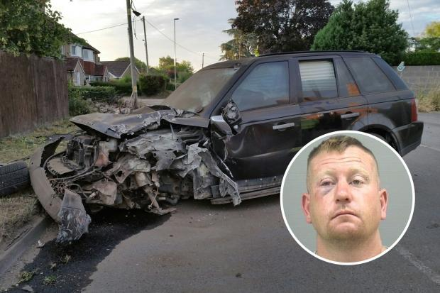 The Land Rover Richard Mark Vass, inset, crashed in Gillingham