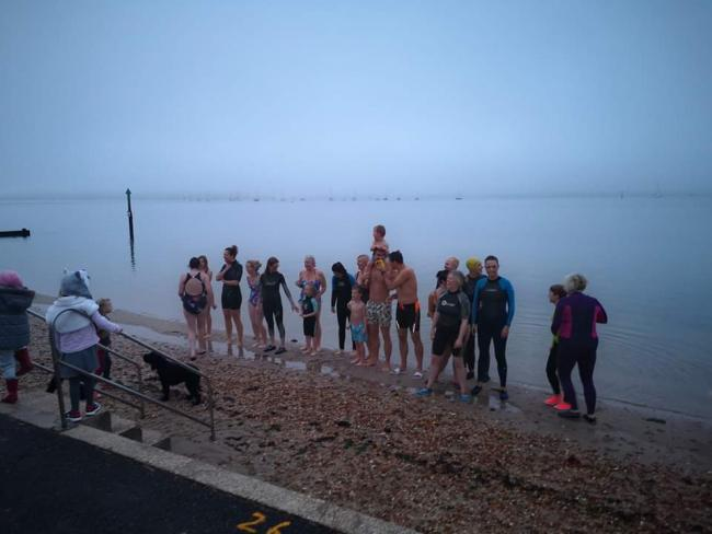 Hamworthy Park sunrise swim in October
