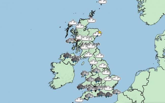 The weather map for the UK today