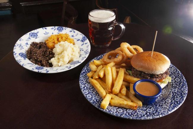 Haggis, neeps and tatties; Caledonian Burger
