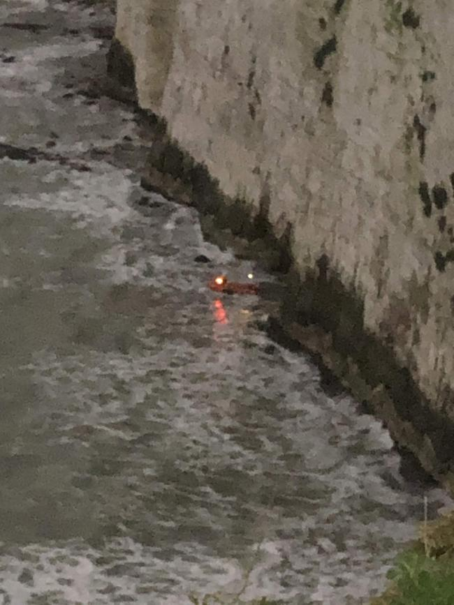 Swanage RNLI Lifeboat's rescuing two people who had become cut off by the tide between Ballard Point and Old Harry on January 11, 2020
