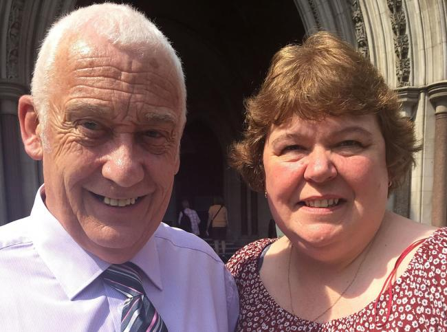 David Bryant and his late wife Lynn outside the Royal Courts of Justice