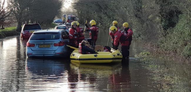 Fire crews rescued five people from floodwater in Derritt Lane on January 15, 2020. Picture by Richard Frampton.