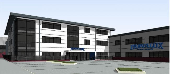 An artist's impression of the Parvalux HQ planned for Cabot Lane, Poole