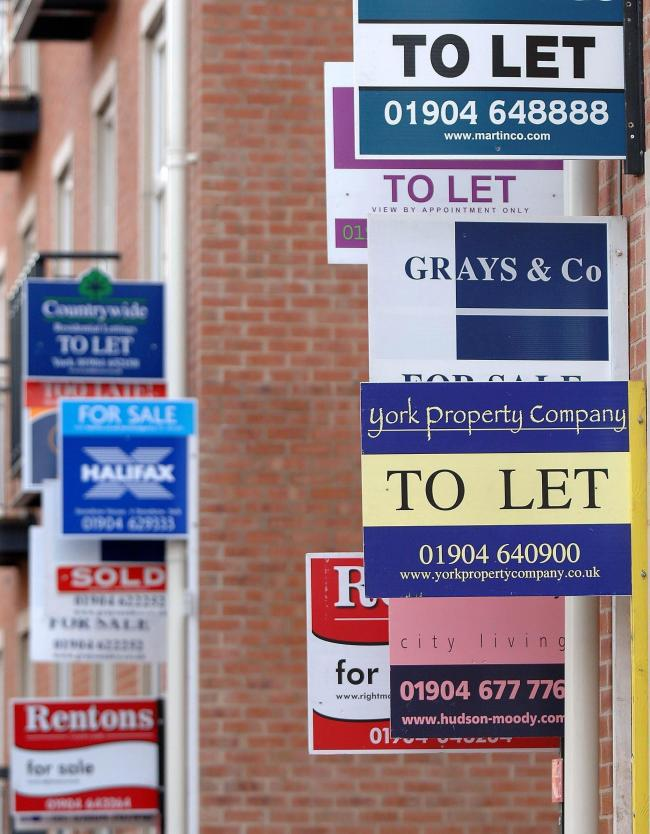 File photo dated 31/01/07 of to let signs as rent rises stalled in June for the first time in at least six years as more people made the jump on to the property ladder, a lettings network has reported. PRESS ASSOCIATION Photo. Issue date: Friday July 19,