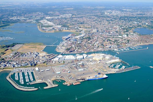 Poole docks from the air. Photo by Stephen Bath
