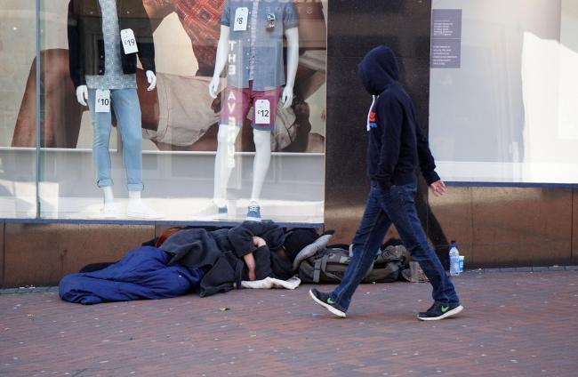 A rough sleeper in Bournemouth town centre