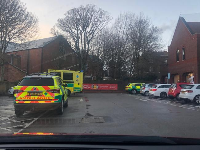 Emergency services at Sainsbury's car park in Pitwines Close. Picture: Shaun Lee/ SRL Photography